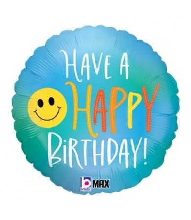 """26119P- Happy Birthday Smiley (18"""")"""
